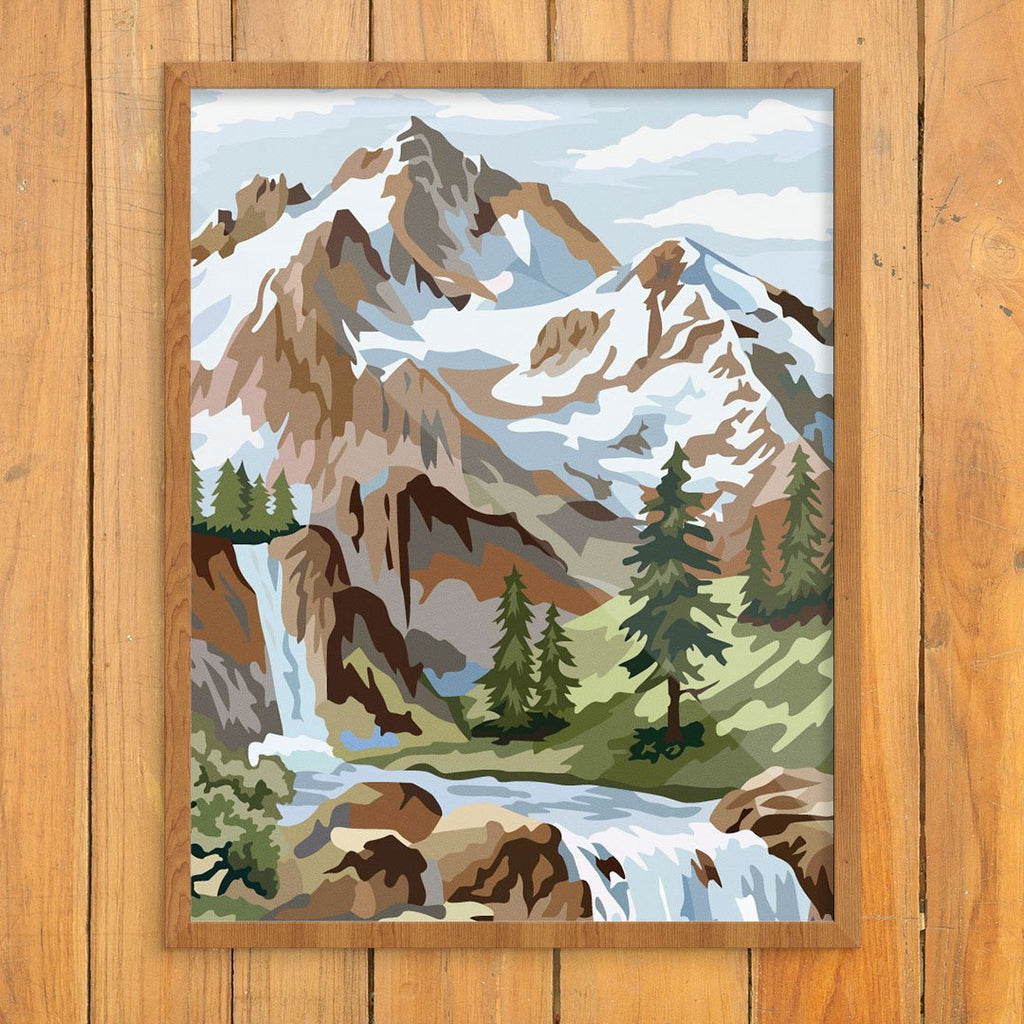 Paint By Number Snowy Mountain Scene Print