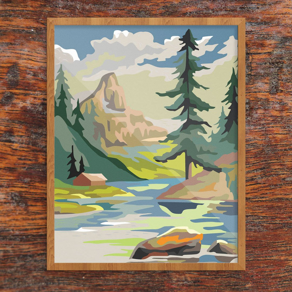 Paint By Number Mountain Cabin & Lake Print