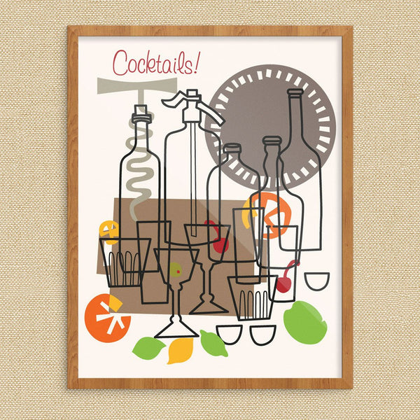 Cocktails Bottles Lemons & Limes Print