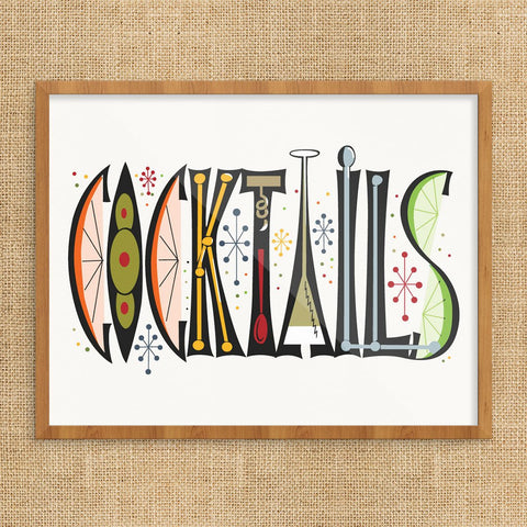 Cocktails Retro 11 x 14 Print