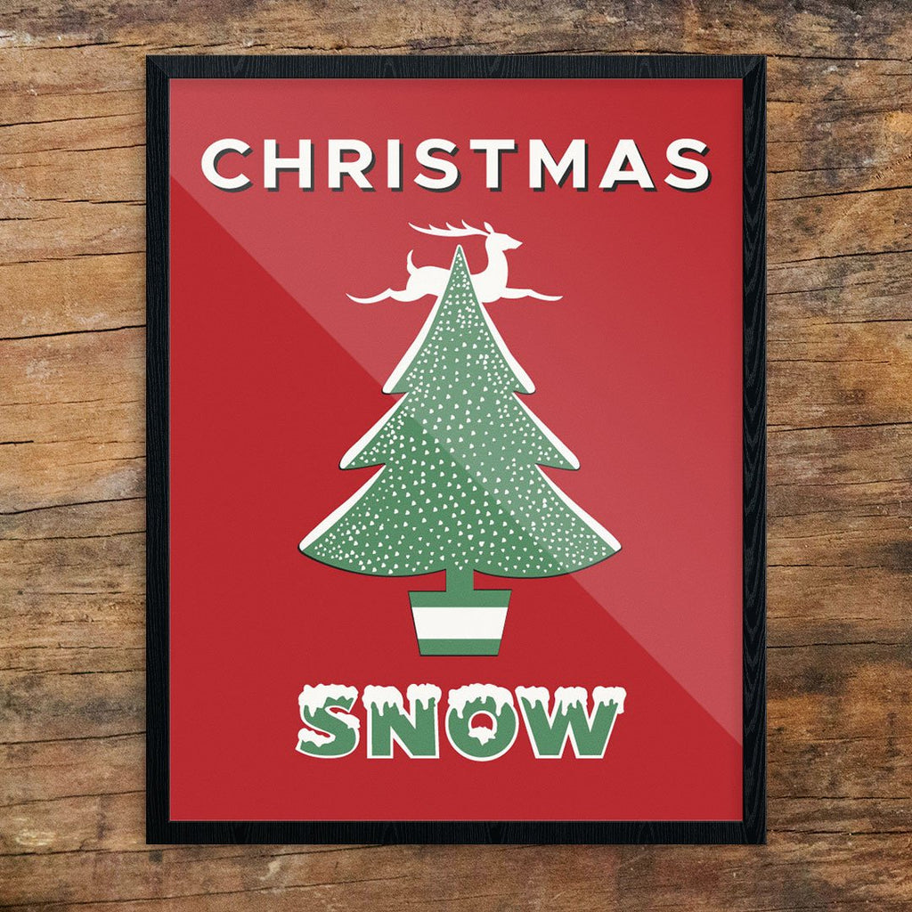 Christmas Snow Retro 11 x 14 Print