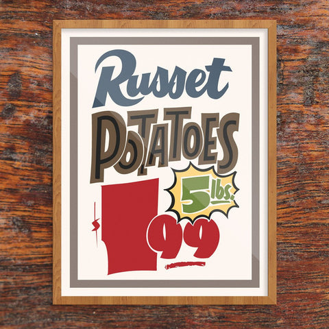 Russet Potatoes Supermarket Sign Print