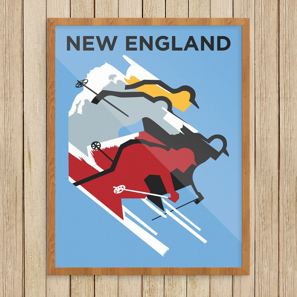 New England Colorful Ski Silhouettes Print