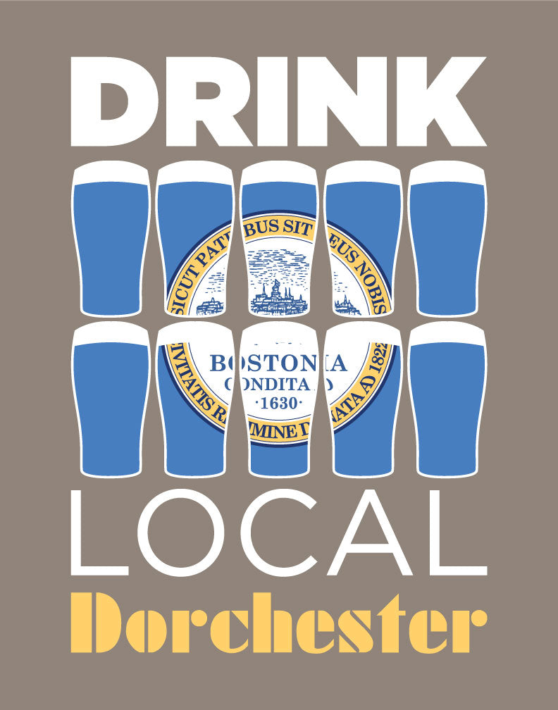 Drink Local Beer Glasses Dorchester Magnet