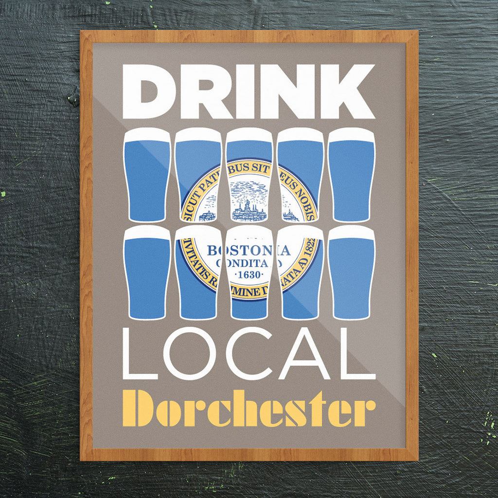 Drink Local Beer Glasses Dorchester 11 x 14 Print