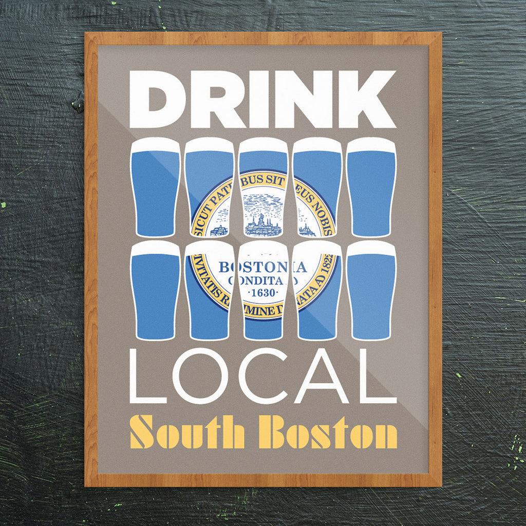 Drink Local Beer Glasses South Boston 11 x 14 Print