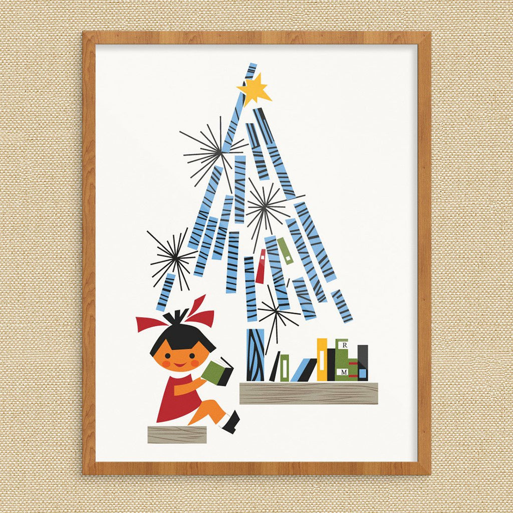 Children's Books Under The Christmas Tree Print