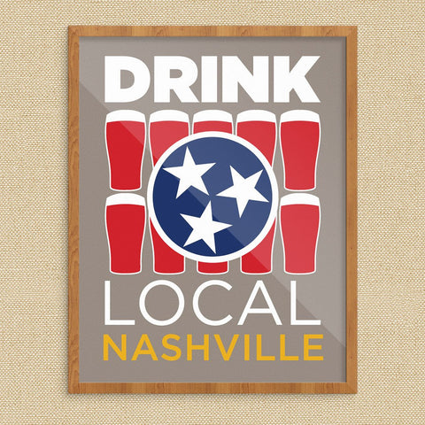 Drink Local Glasses Nashville Print