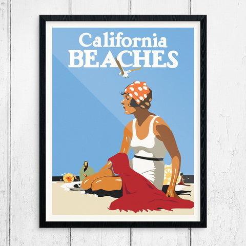 California Beaches Vintage Print
