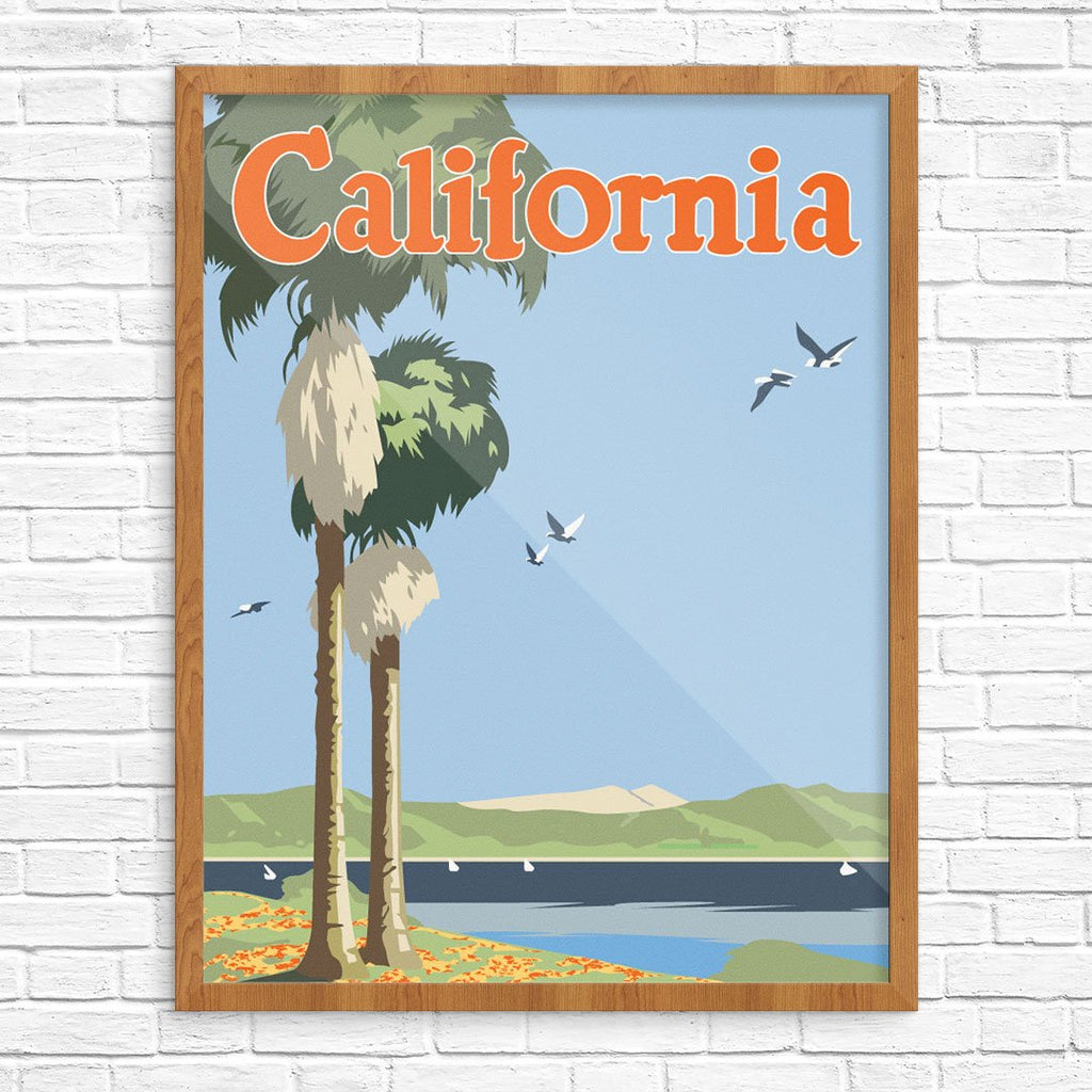 California Palm Tree & Sea Gulls Print