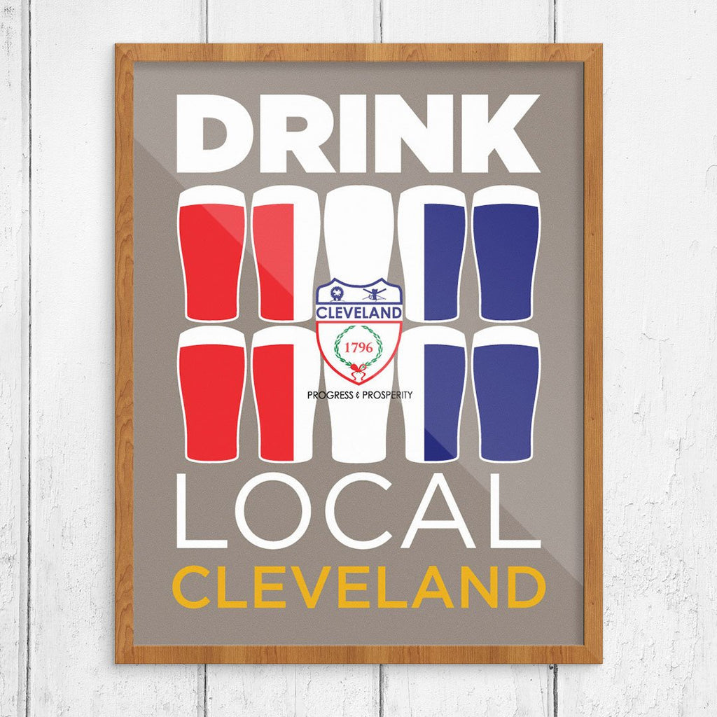 Drink Local Glasses Cleveland Print
