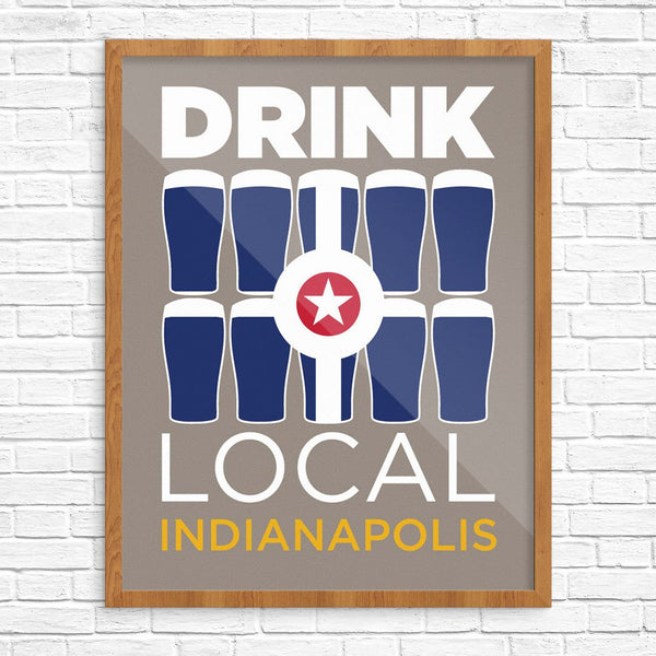 Drink Local Glasses Indianapolis Print