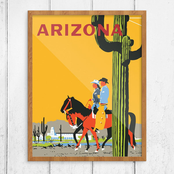Arizona Cactus & Riders Travel Poster Print