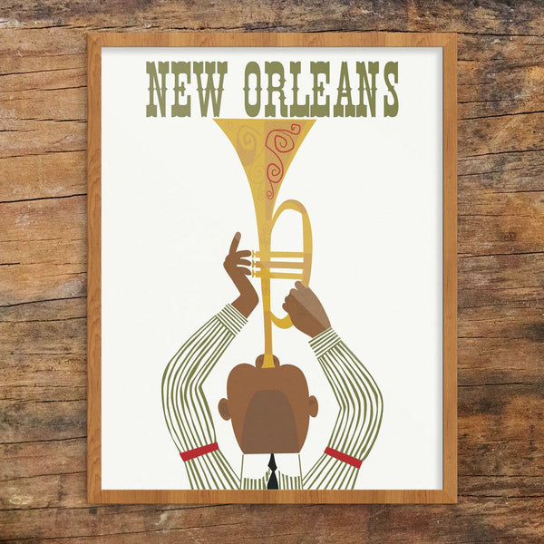 New Orleans Jazz Player Travel Poster