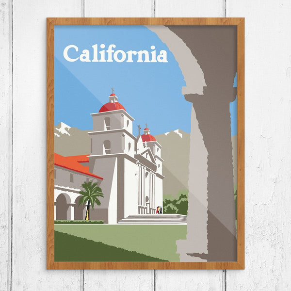 Southern California Mission Church Travel Poster Print