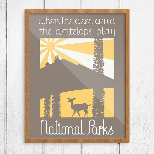 National Parks Where the Deer & Antelope Play Print