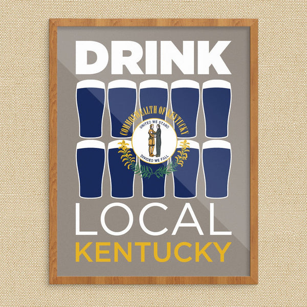 Drink Local Glasses Kentucky Print