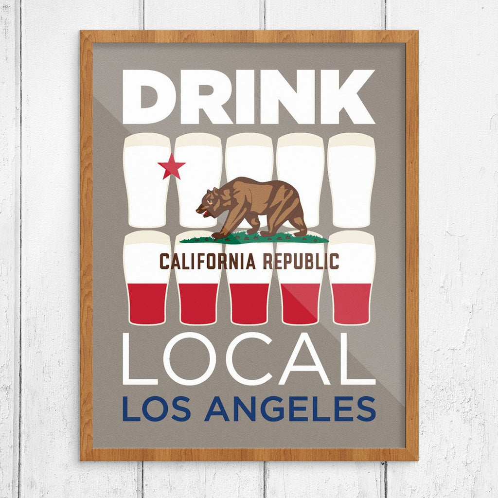 Drink Local Los Angeles Beer Glasses Print
