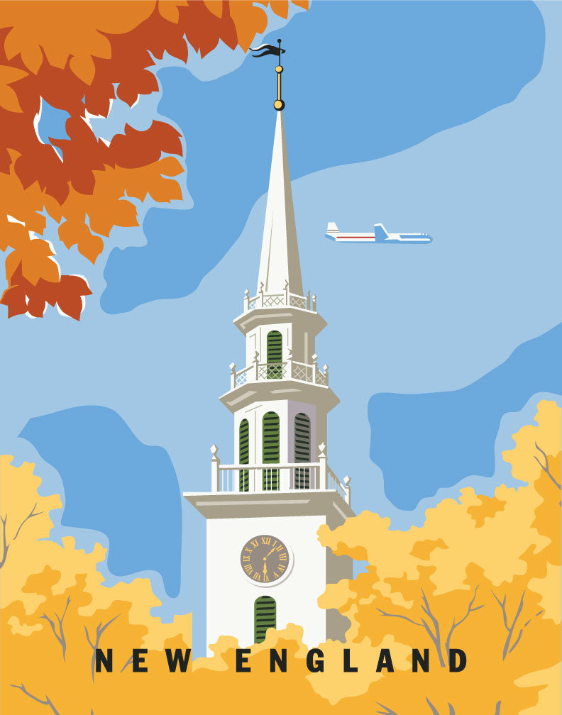 New England Church Steeple Travel Poster Magnet