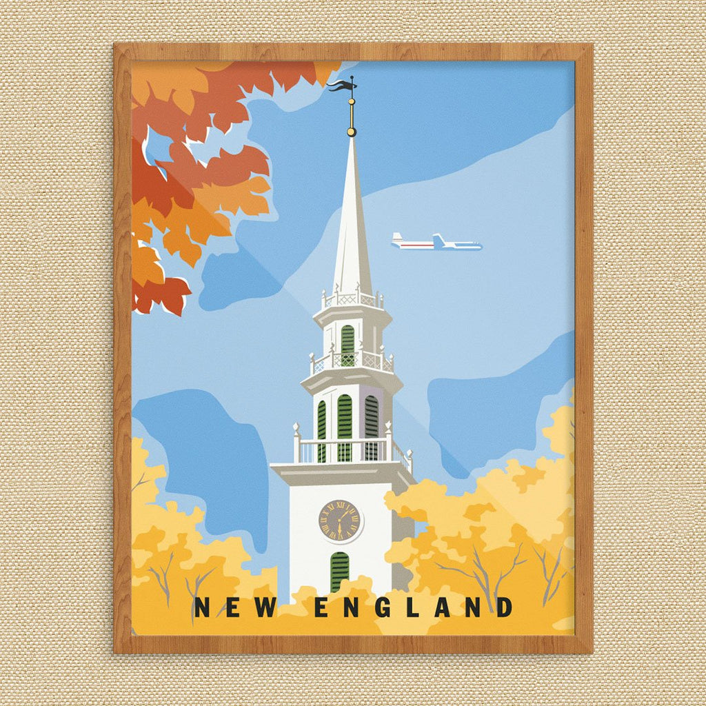 New England Church Steeple Travel Poster Print
