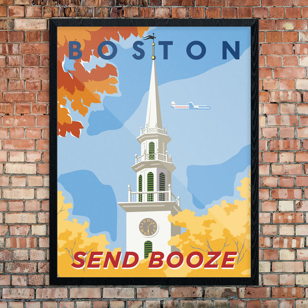 Boston Send Booze Travel Poster 11 X 14 Print