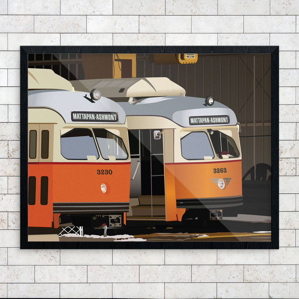 Mattapan-Ashmont High Speed Trolleys in Barn 11 x 14 Print