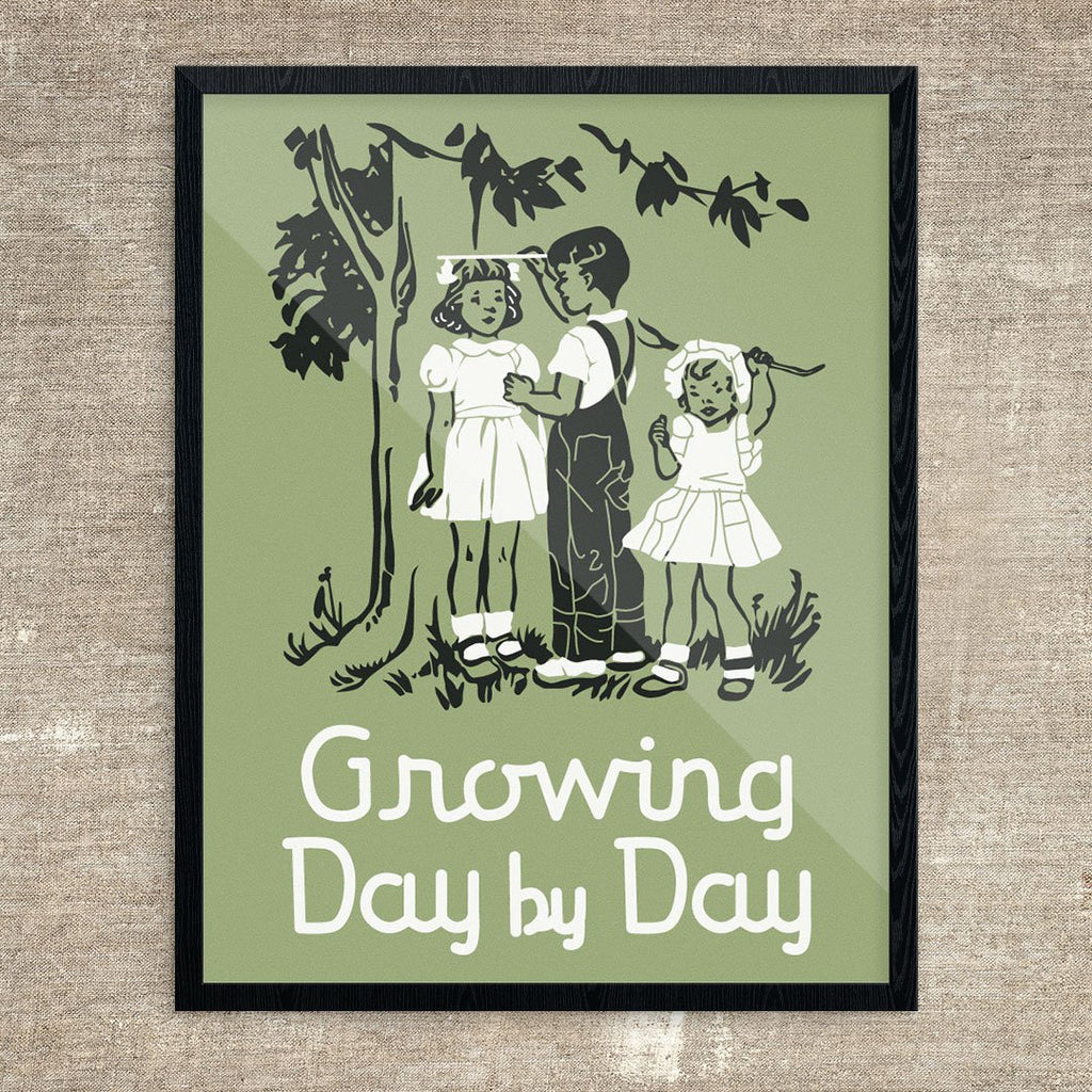 Growing Up Day By Day Vintage Children Print