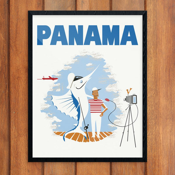 Panama Deep Sea Fisherman Travel Poster Print