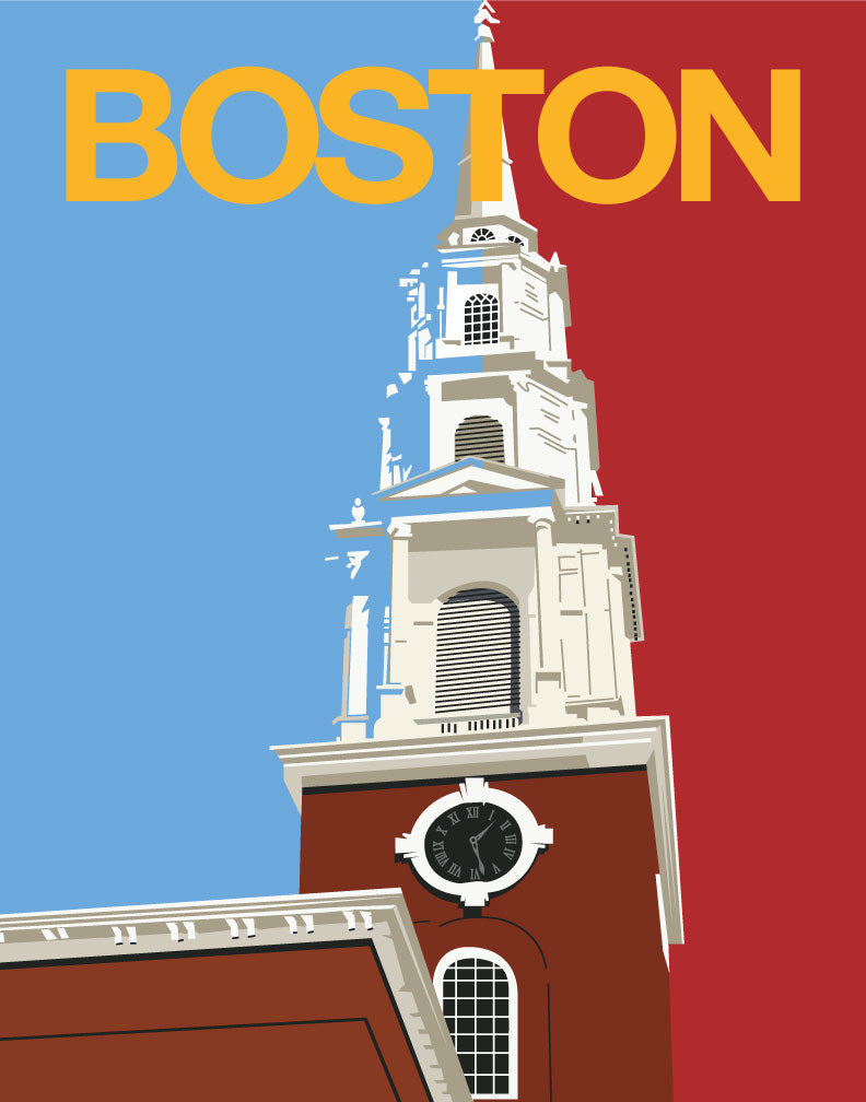 Boston Church Steeple Travel Poster Magnet