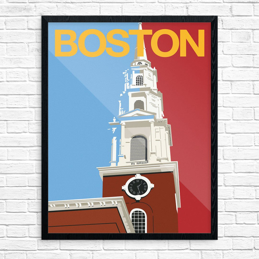 Boston Steeple Travel Poster 11 x 14 Print