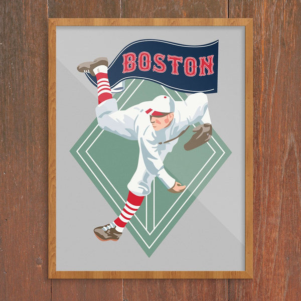 Boston World Champs Baseball Player Print
