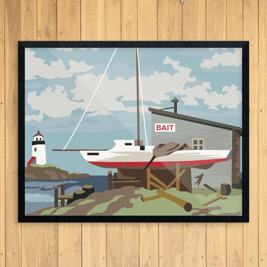 Paint By Number Bait Shop & Sailboat 11 x 14 Print