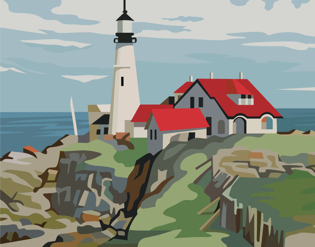 Paint By Number Portland Head Lighthouse Magnet