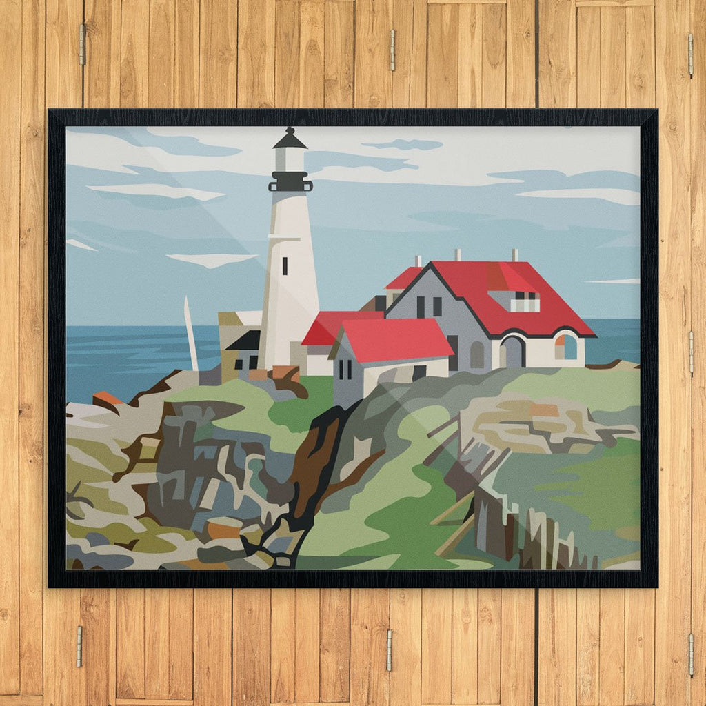 Paint By Number Portland Head Lighthouse 11 x 14 Print