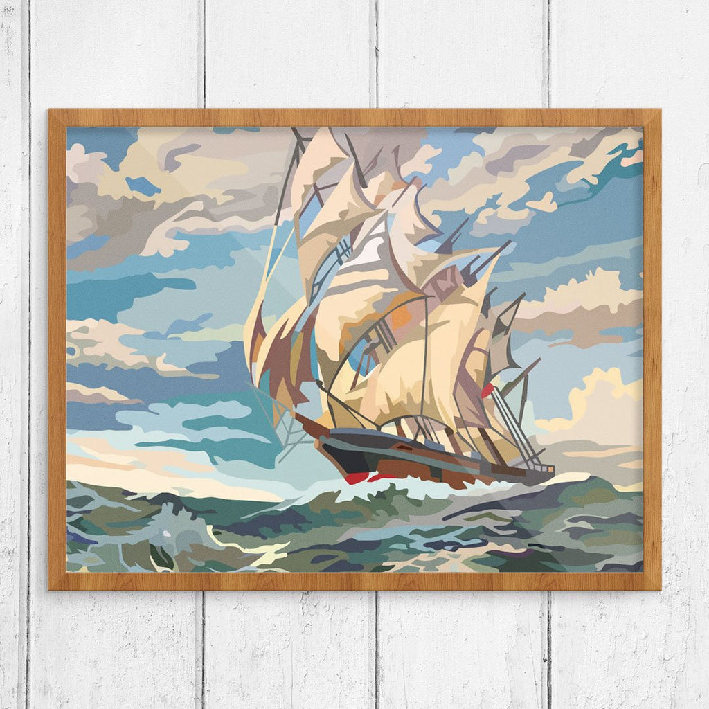 Paint By Number Ship Under Sail 11 x 14 Print