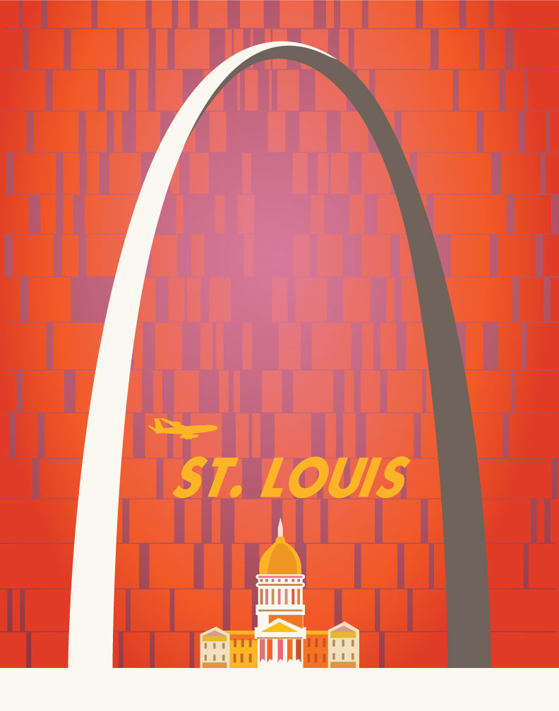 St. Louis Gateway Arch Vintage Travel Poster Magnet