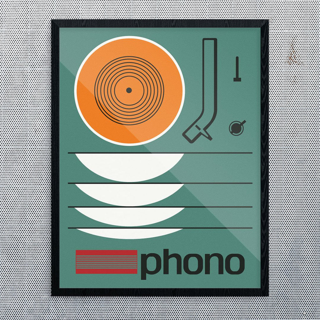 Retro Phono LP Turntable Print