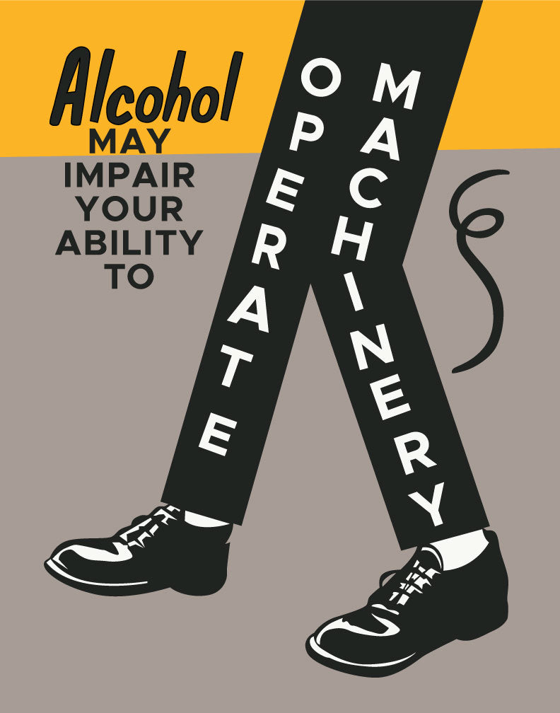 Alcohol May Impair Your Ability to Operate Machinery Vintage Print Magnet