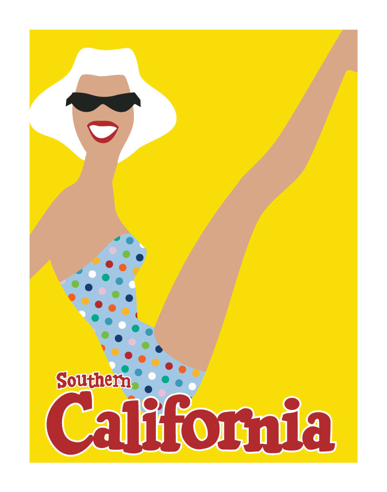 Southern California Sunbather Travel Poster Magnet