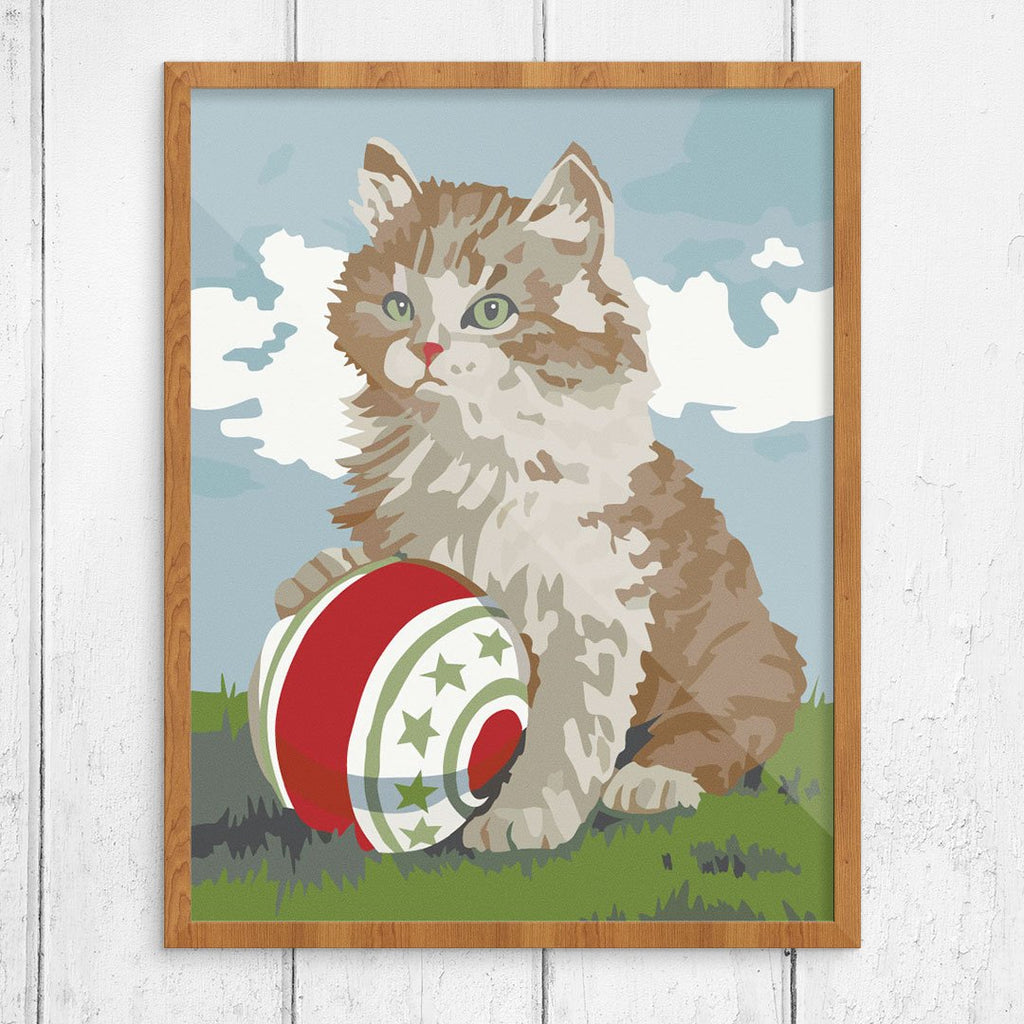 Paint By Number Cat and Ball Print