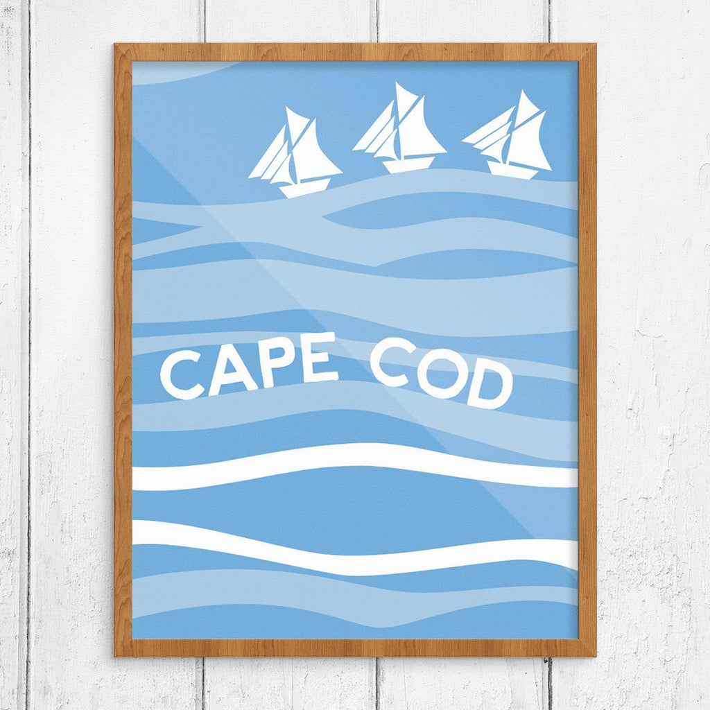 Cape Cod Sailboats on Blue Waves Print