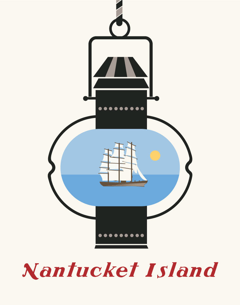 Nantucket Island Lantern and Whaling Ship Magnet