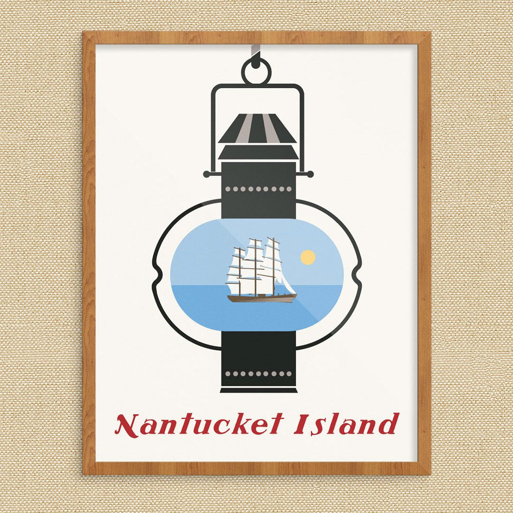 Nantucket Island Lantern and Whaling Ship Print