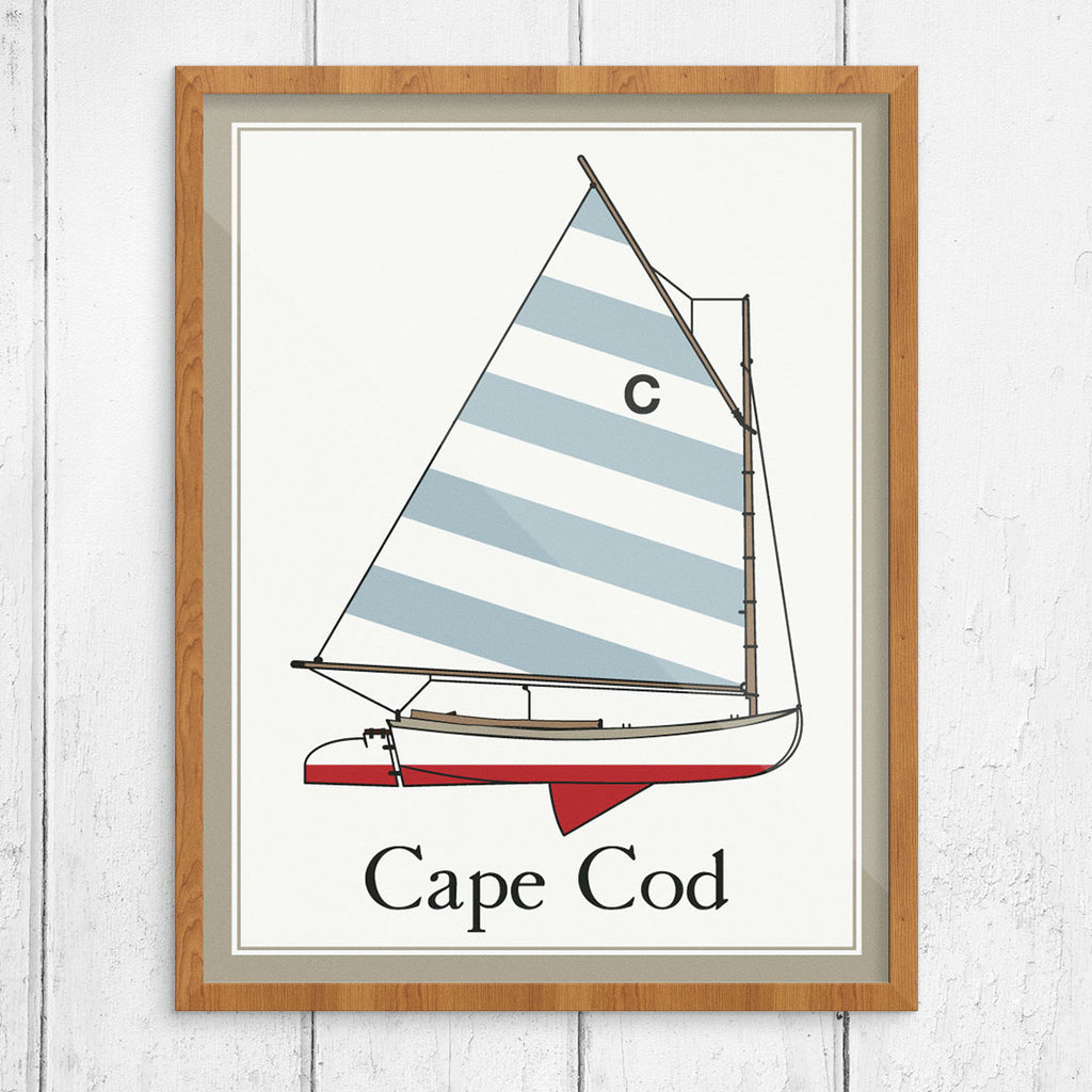 Cape Cod Beetle Cat with a Striped Sail 11 x 14 Print