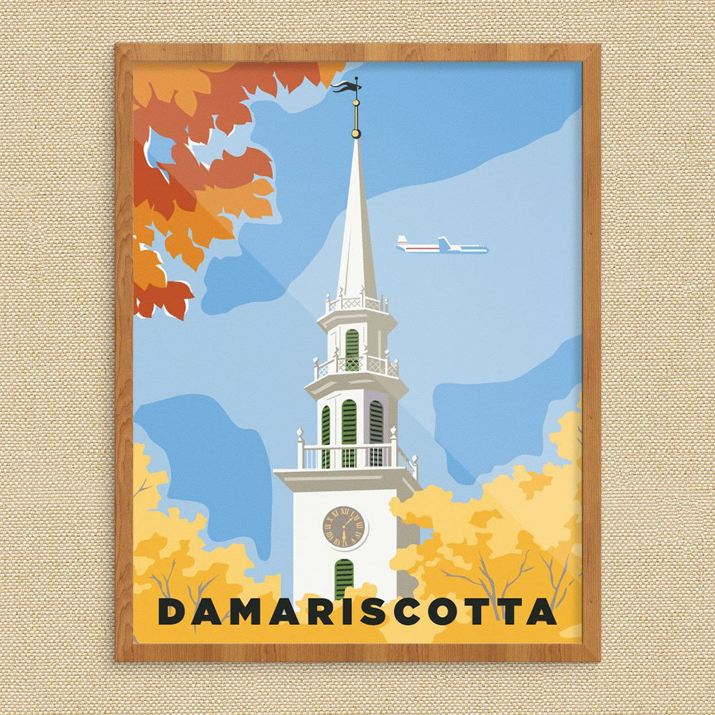 Damariscotta, Maine Church Steeple Autumn Scene Print