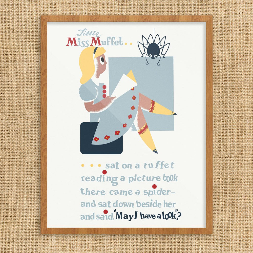Little Miss Muffet Poem Print