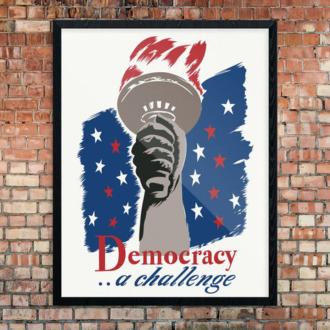 Democracy a Challenge WPA Poster Print