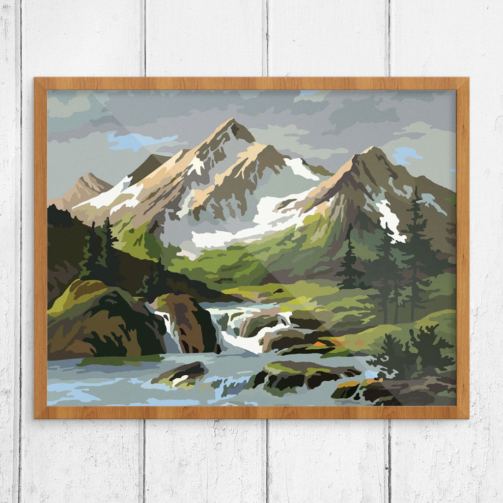 Paint By Number Snowy Mountain and Stream Print