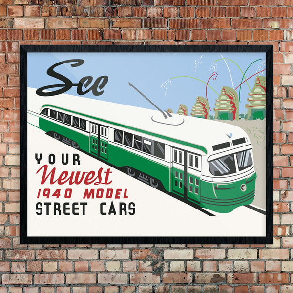 See Your Newest 1940 Street Car Models Print