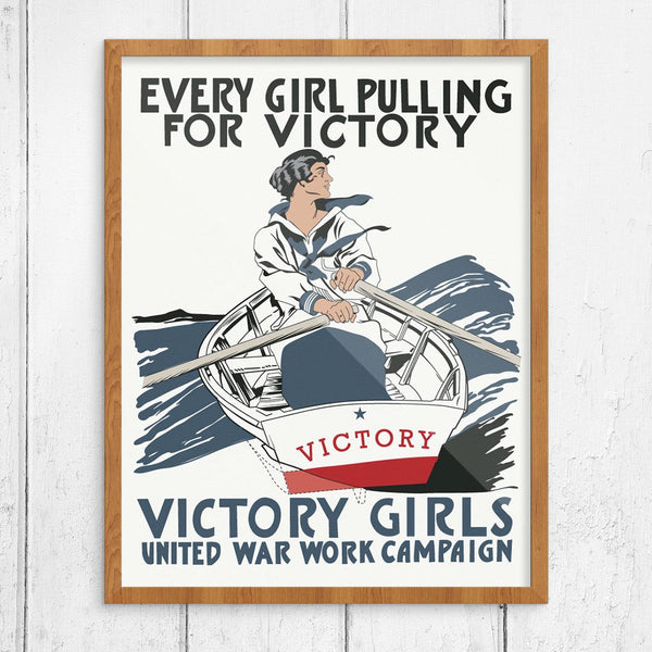 Girls Pulling Together for Victory Print